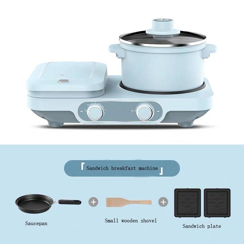 Máquina de desayuno eléctrica 3 en 1, sartén multifunción, mini olla de cocina, pan doméstico, pizza, sartén para sándwich, 220V