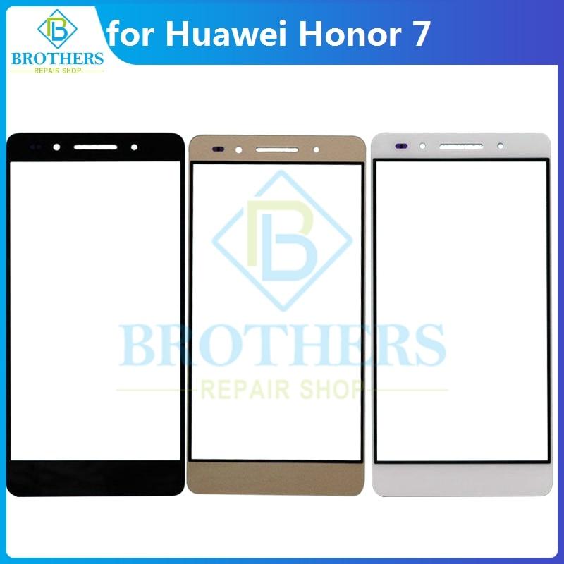 Para Huawei Honor 7 Lente de Cristal táctil frontal para Honor7 pantalla táctil de cristal frontal LCD Lente de Cristal Panel táctil teléfono reemplazo superior