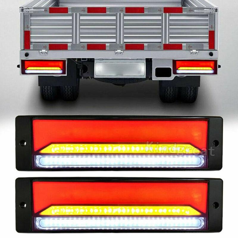 Водонепроницаемый светодиодный задний фонарь для грузовика, 1 пара, стоп-сигнал для прицепа, неоновый гало, задний стоп-сигнал, сигнал повор...