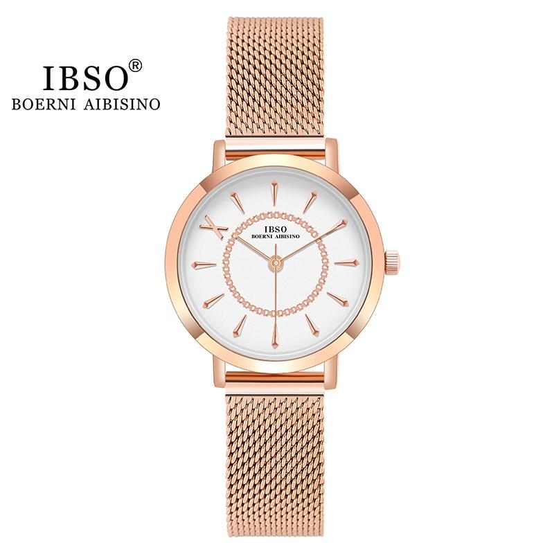 IBSO Japan Quartz Movement Elegant Women's Watch Ladies Stainless Steel Mesh Rose Gold Charming Waterproof Watches For Women