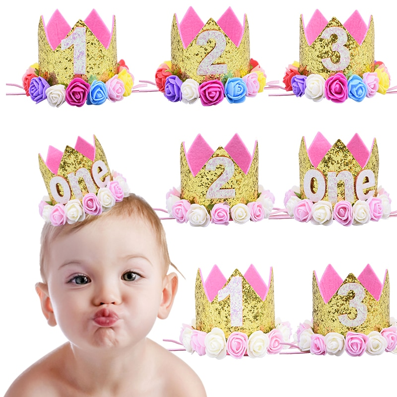 Sombreros de fiesta de feliz primer cumpleaños, gorro decorativo, sombrero de un cumpleaños, corona de princesa, accesorio para el pelo de bebés de primer y tercer año 2 °