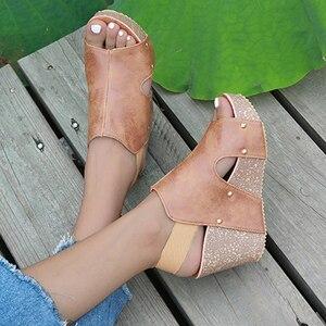 Summer Pumps High Heels Platform Wedge Sandals For Women Wedges 9cm High Heel Fish Mouth Retro Women's Shoes Platform Sandalias