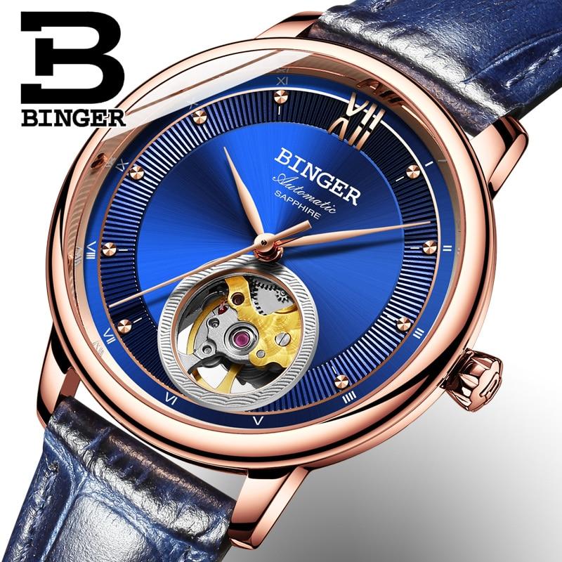BINGER luxury luxury mechanical watch, sapphire mirror, ladies watch with automatic movement Seiko 9015 enlarge