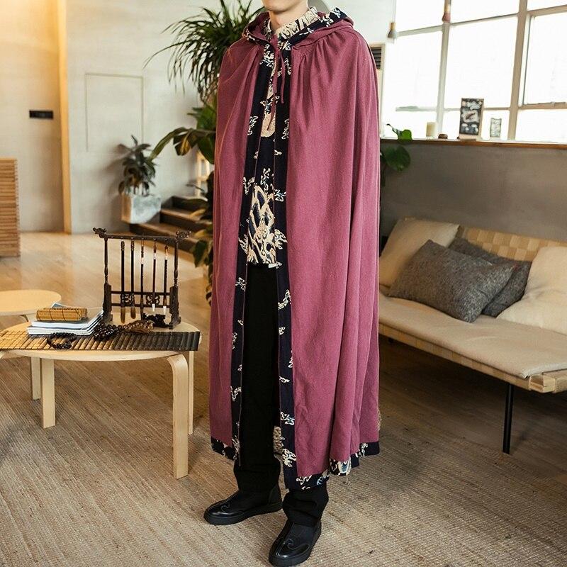 ملابس صينية تقليدية للرجال ، معطف واق من المطر ، معطف طويل من القطن والكتان ، خليط ، فستان شتوي عتيق للرجال ، KK3064