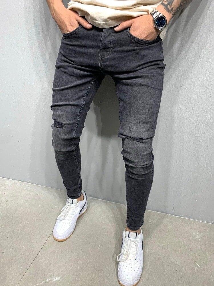 Мужские джинсы, черные обтягивающие рваные джинсы с эластичным поясом, 2020, уличная одежда, Прямая поставка, мужские джинсы, Стрейчевые джинс...