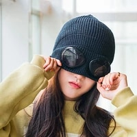unisex wool knitted goggles beanie sports cap leisure thermal fluffy warm autumn winter hat heat keeper ear snow cold protector