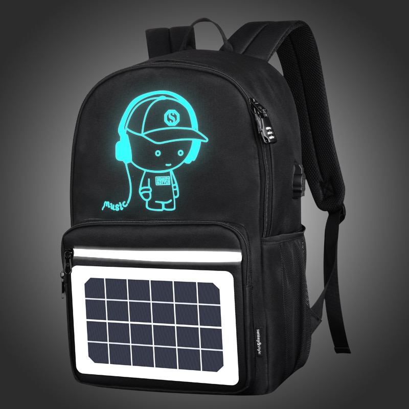SenkeyStyle Solar Energy USB Charging Men Backpacks High Quality Luminous School Backpacking for Boy