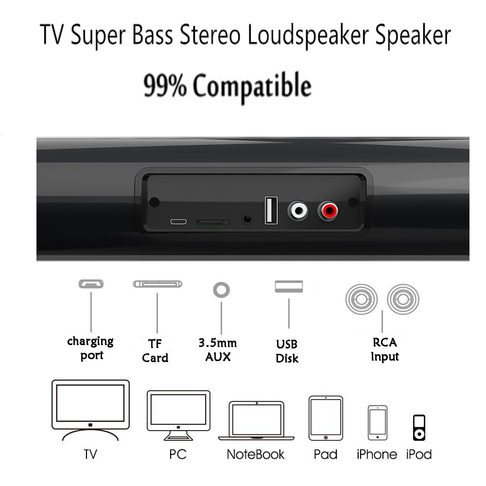 Wireless Bluetooth Sound bar Speaker System Super Power Sound Speaker Wired Wireless Surround Stereo Home Theater TV Projector enlarge