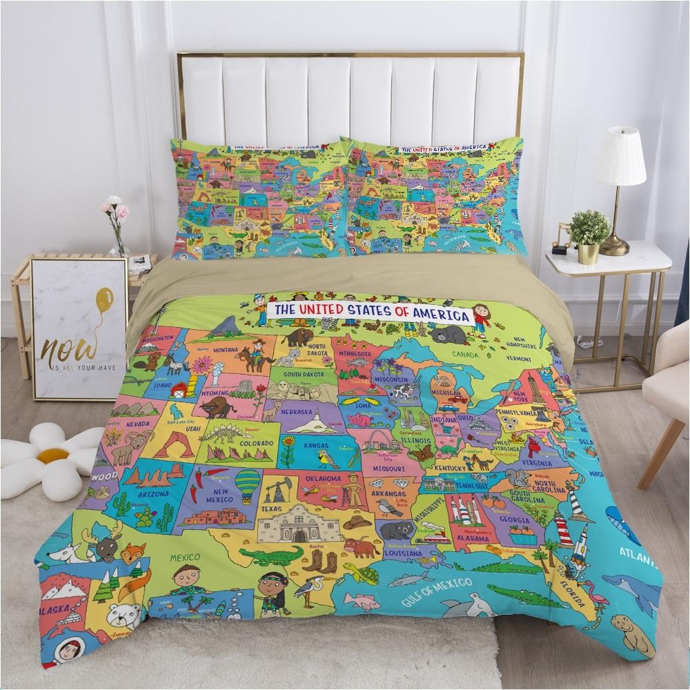 الكرتون للأطفال طقم سرير للأطفال طفل صبي الفتيات حاف مجموعة غطاء كيس وسادة بياضات سرير غطاء لحاف 140x200 خريطة السيارة