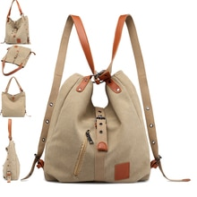New Khaki Women's Bags CanvasTravel Bag Multi-purpose Women Backpack Portable Shoulder Fashion Large