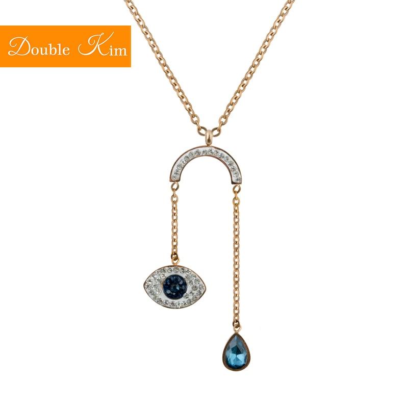 Ожерелье с подвеской «глаз демона», розовое золото, титановая цепочка из нержавеющей стали, модное Трендовое женское ювелирное изделие
