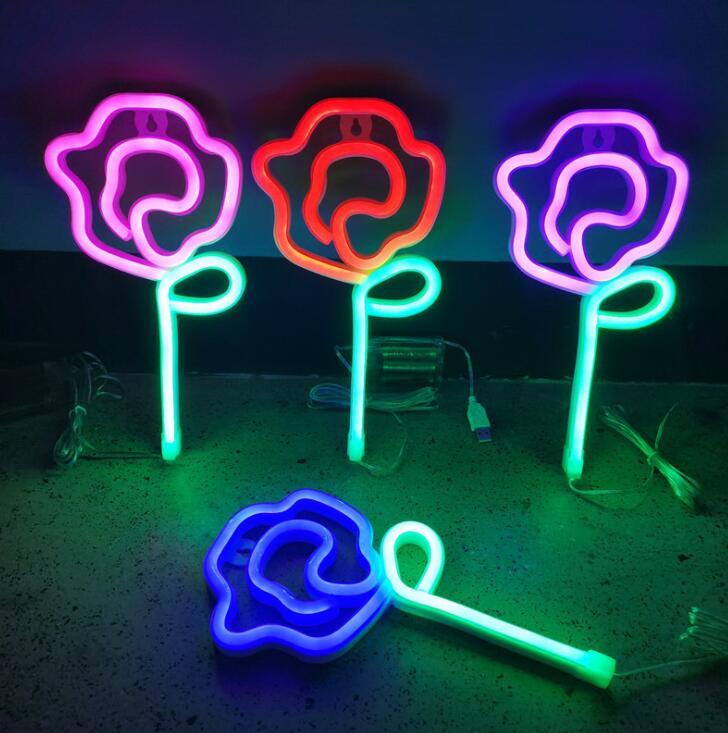 Led روز نيون مصباح النمذجة اللون مصباح غرفة نوم عيد الحب الديكور