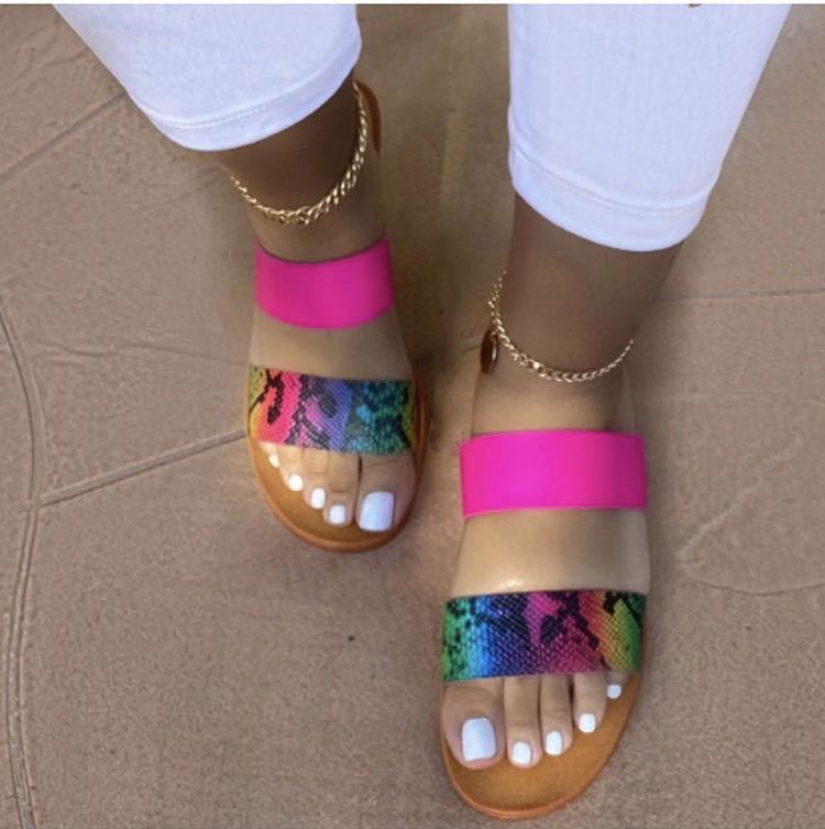 Zapatillas De Mujer De tacón bajo, toboganes informales para exteriores, Zapatos De verano para Mujer De talla grande 40 41
