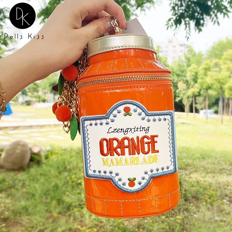 Cute Soda Jam Bottle Shape Chain Shoulder Bags for Women Fashion Mini Bucket Bag Cartoon Purses Nove