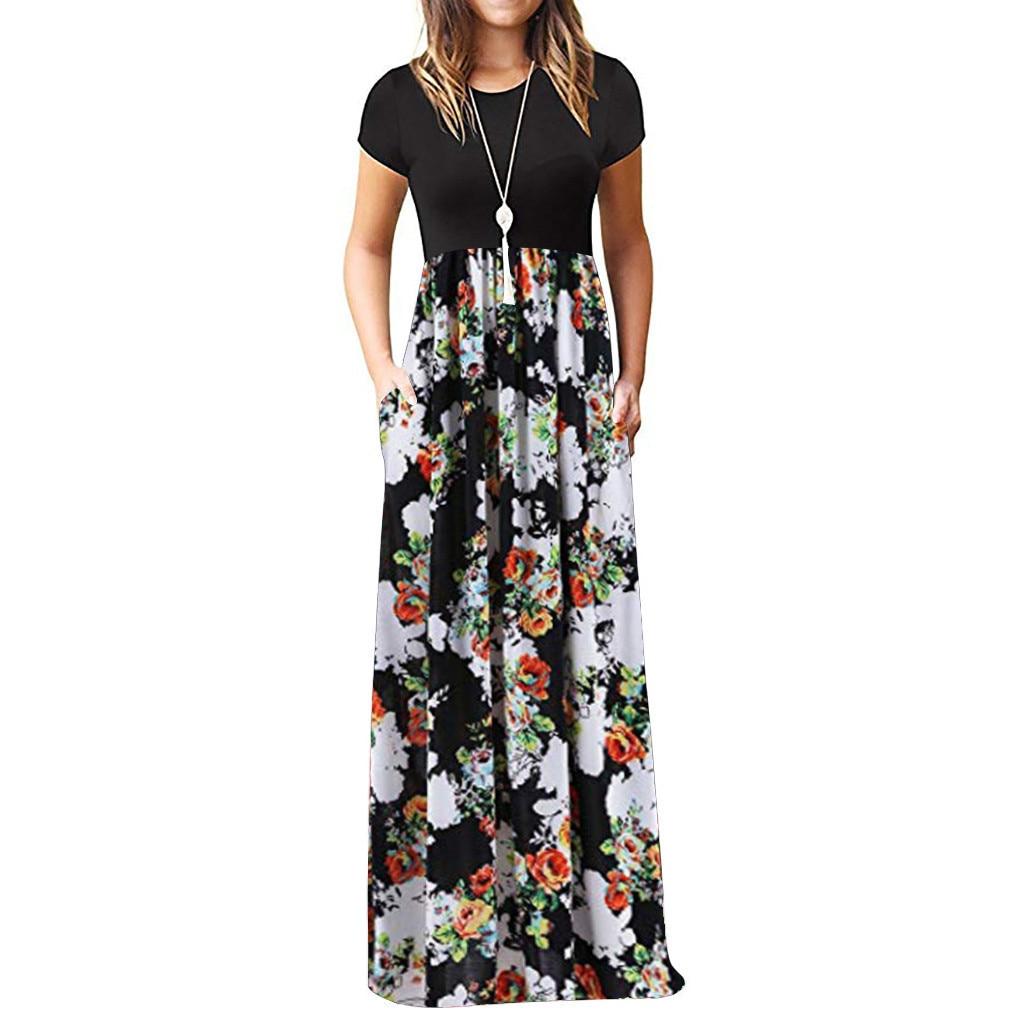 Vintage Floral Print Boho Dress Women Long Maxi Dress Evening Party Beach Summer Dress Vestidos Short Sleeve Split Dresses 2021