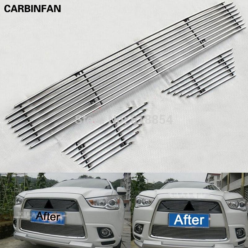 Rejilla frontal con embellecedor alrededor de las rejillas de carreras de acero inoxidable de alta calidad, embellecedor alrededor de 3 unids/set para Mitsubishi ASX 2010 2011