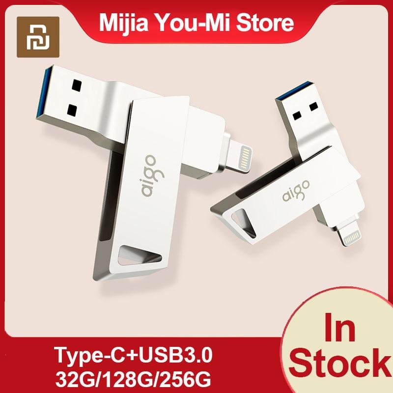 Youpin الأصلي U368 U القرص فلاش محرك 128 جيجابايت 256 جيجابايت البرق USB3.0 المزدوج واجهة 360 درجة تدوير المصغّر USB ذاكرة تخزين الأجهزة