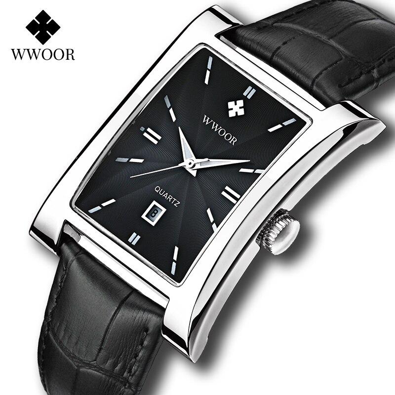 Pulseira de Couro Relógio à Prova Relógio de Pulso com Caixa Wwoor Masculino Quadrado Relógios Marca Superior Luxo Preto Quartzo Dwaterproof Água Data Automática