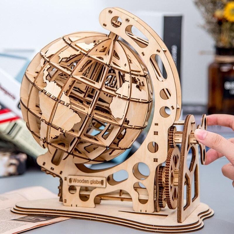 2020 rompecabezas de globo de madera 3D DIY transmisión mecánica modelo engranaje giratorio Puzles de montaje casa Oficina Decoración Juguetes