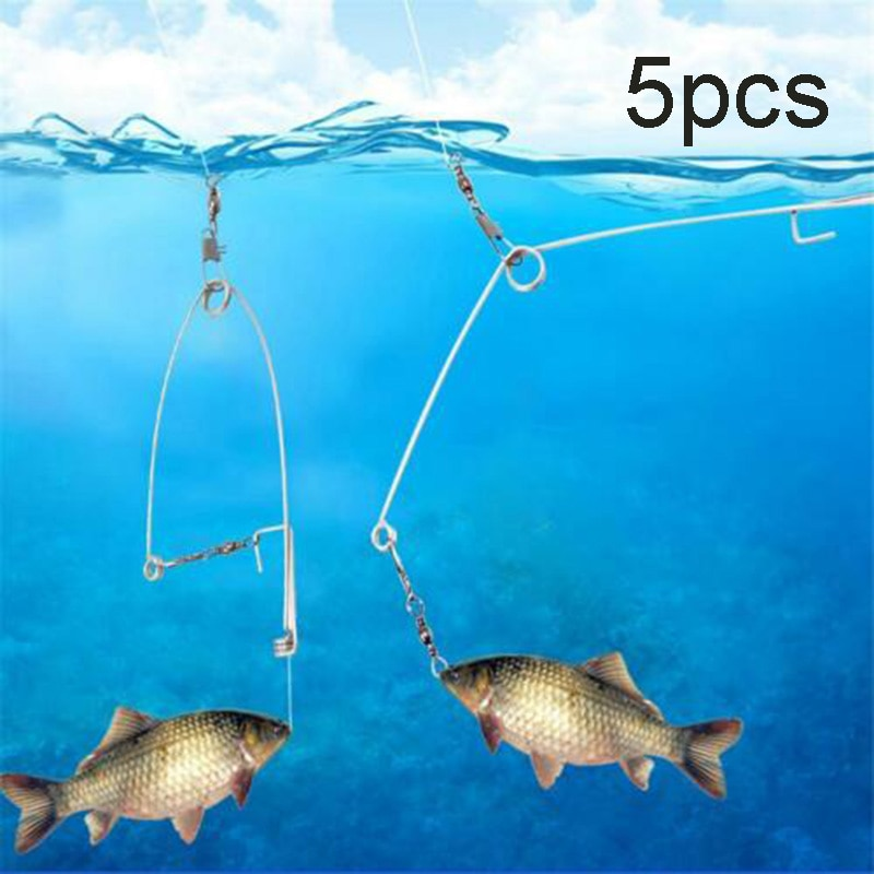 Newly 5Pcs Stainless Steel Hook Trigger Spring Fishing Hook Setter Bait Bite Triggers The Hook Catch Fish Automatically Peche b8