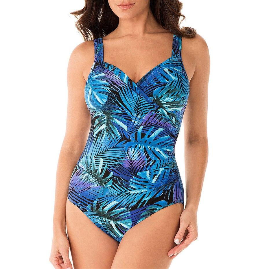 Sexy imprimir hojas de una sola pieza traje de baño mujeres Monokini vestido de traje de cuello en V empuje body Bikini de Talla grande-XXXL de baño traje de baño
