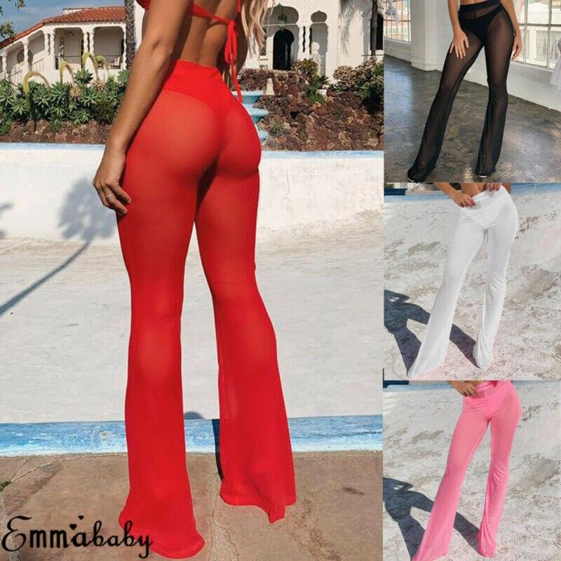 Moda mujer playa Sheer Bikini cubrir traje de baño transparente pantalón largo transparente Leggings largos pantalones de pierna ancha