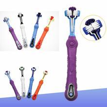 Cepillo dental para perro, cepillo de dientes de goma suave para Gato con perros de tres lados, cepillo de dientes de sarro con mal aliento, accesorios de mascota perro
