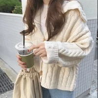 women cardigan ribbed sweaters sailor collar vintage oversize knitted tops 2021 autumn winter new clothes casual korean outwears