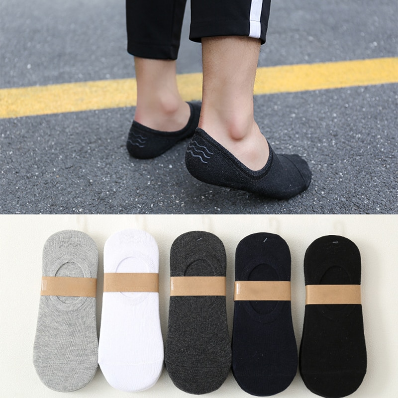 Summer Autumn 5 Pairs Cotton Non-slip Breathable For Men Short Socks Multicolors With Invisible Silicone Boat