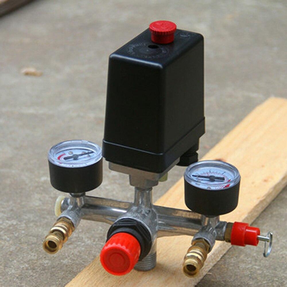 Regulador múltiple bomba de aire válvula de presión compresor del interruptor herramienta de manómetro de montaje