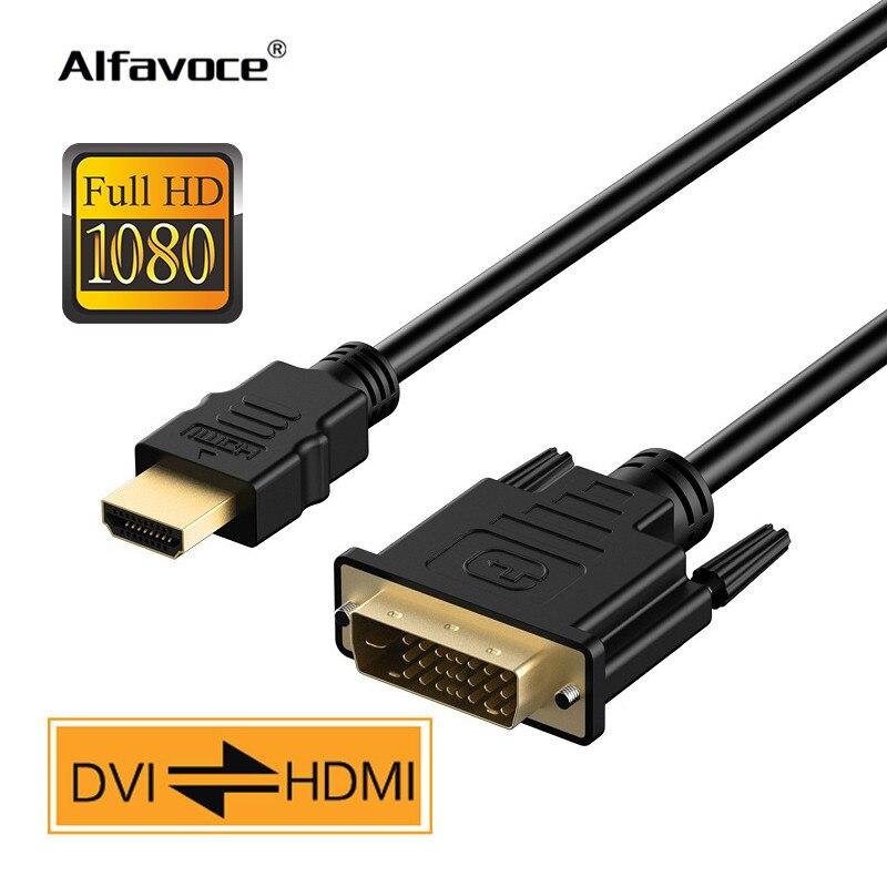 Hdmi para dvi cabo 1080 p para hdtv dvd projetor 1 2 3 5 m hdmi para dvi adaptador banhado a ouro macho a 24 + 1 pinos cabo de vídeo macho