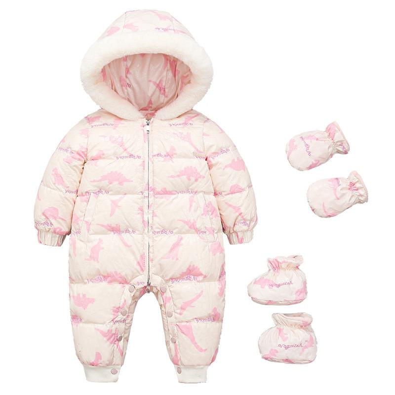 Зимнее Детское пальто, белые пуховые куртки, толстый женский комбинезон для новорожденных, Женское пальто для малышей 0-3 лет, комбинезон