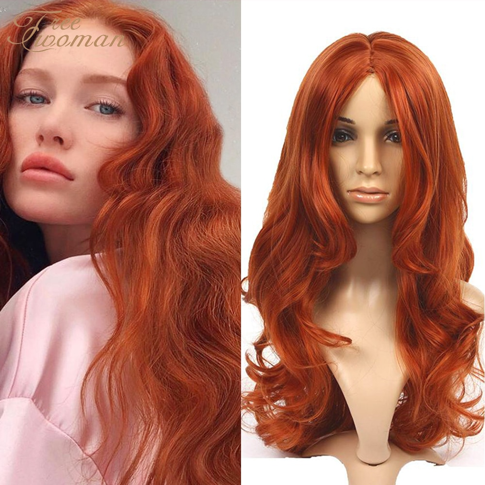 FREEWOMAN Water Wave Synthetic Lace Front Wig Red Brown Free Part Hair Wig Lace Front Wigs Heat Resistant Lace Wigs For Women