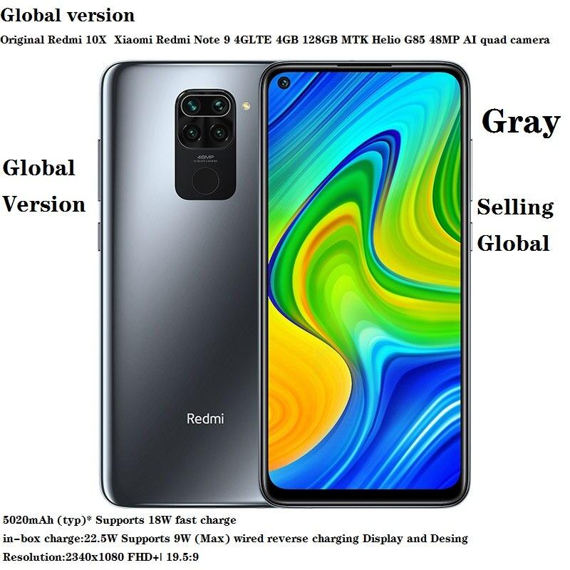 الإصدار العالمي الأصلي من هاتف Redmi 10X شاومي Redmi نوت 9 4GLTE 4GB 128GB MTK Helio G85 48mp كاميرا رباعية 6.53