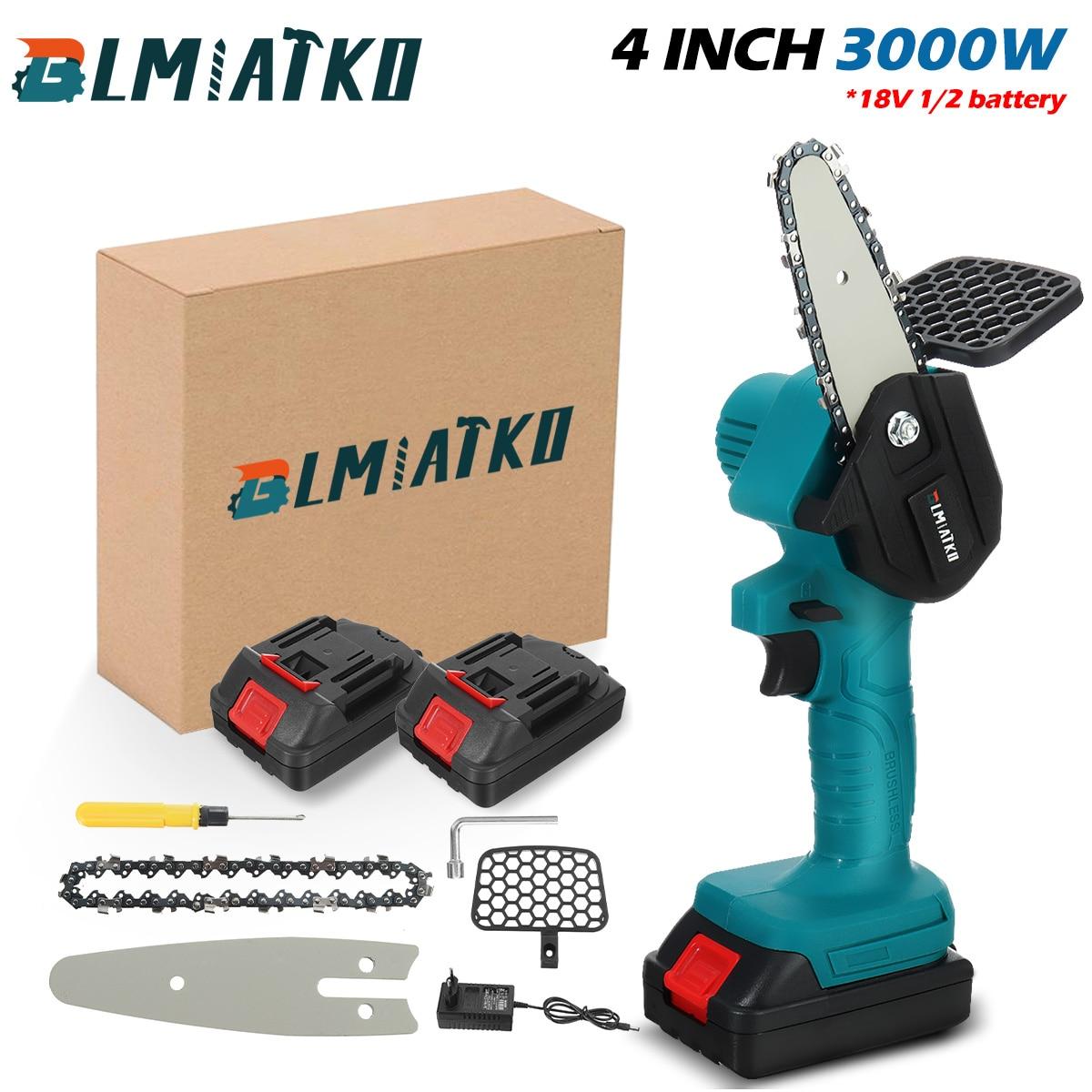 Электрическая цепная пила BLMIATKO, беспроводная, 4 дюйма, 18 в, 2400 Вт, с аккумулятором
