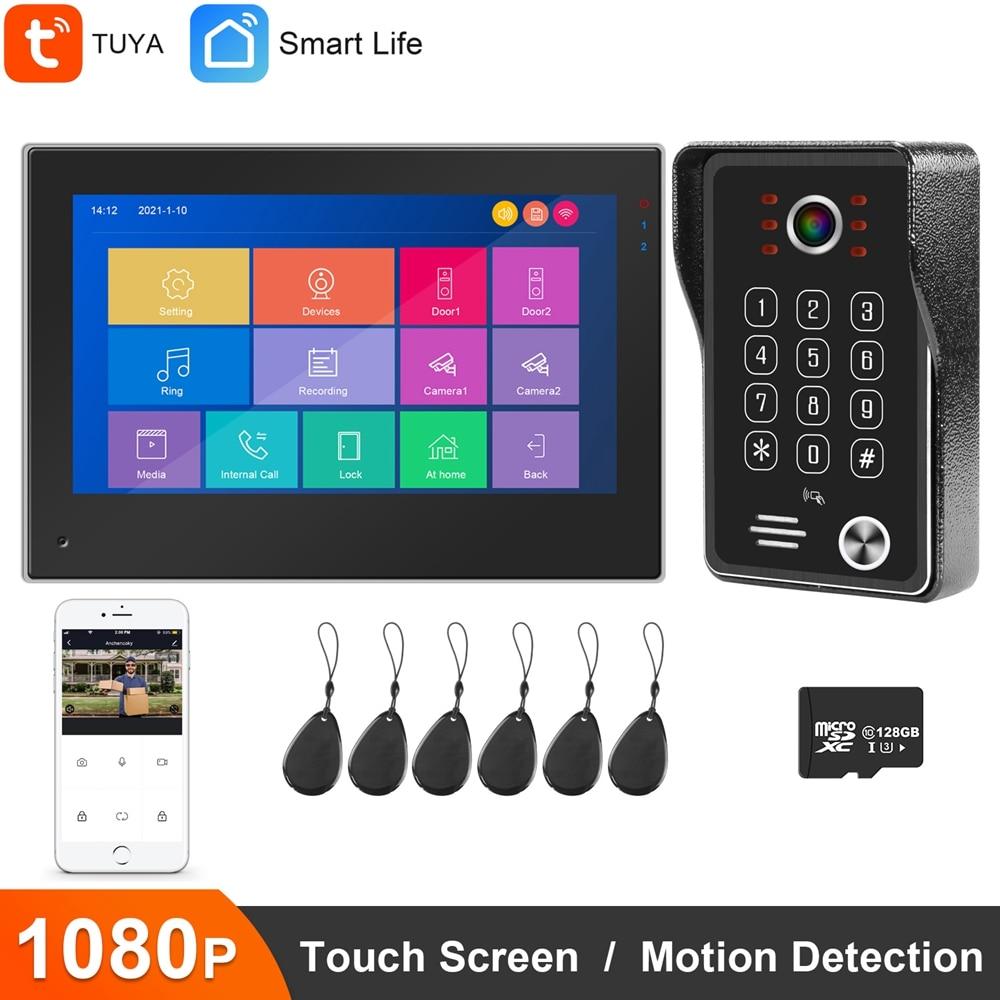 واي فاي فيديو إنترفون للمنزل تويا الذكية فيديو باب الهاتف نظام IP كاميرا فيديو بالجرس 1080P لوحة المفاتيح كلمة السر تتفاعل شاشة تعمل باللمس