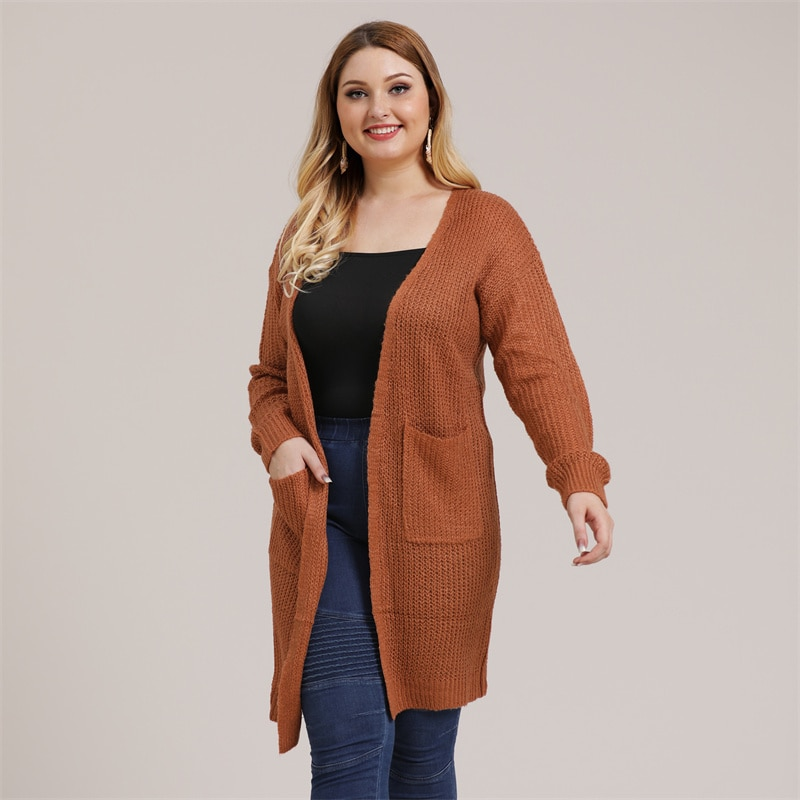 Fioncrow Solid Color Cardigan Sweater Plus Size 2021 Autumn Women Dress High V-neck Middle Length Casual Long Sleeve Top
