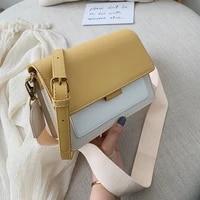 contrast color leather crossbody bags for women 2021 travel handbag fashion simple shoulder messenger bag ladies mini flap bag