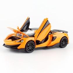 132 escala mclaren 600lt diecast liga modelo de carro puxar para trás 4 portas coleção aberta crianças presente brinquedos carros v210