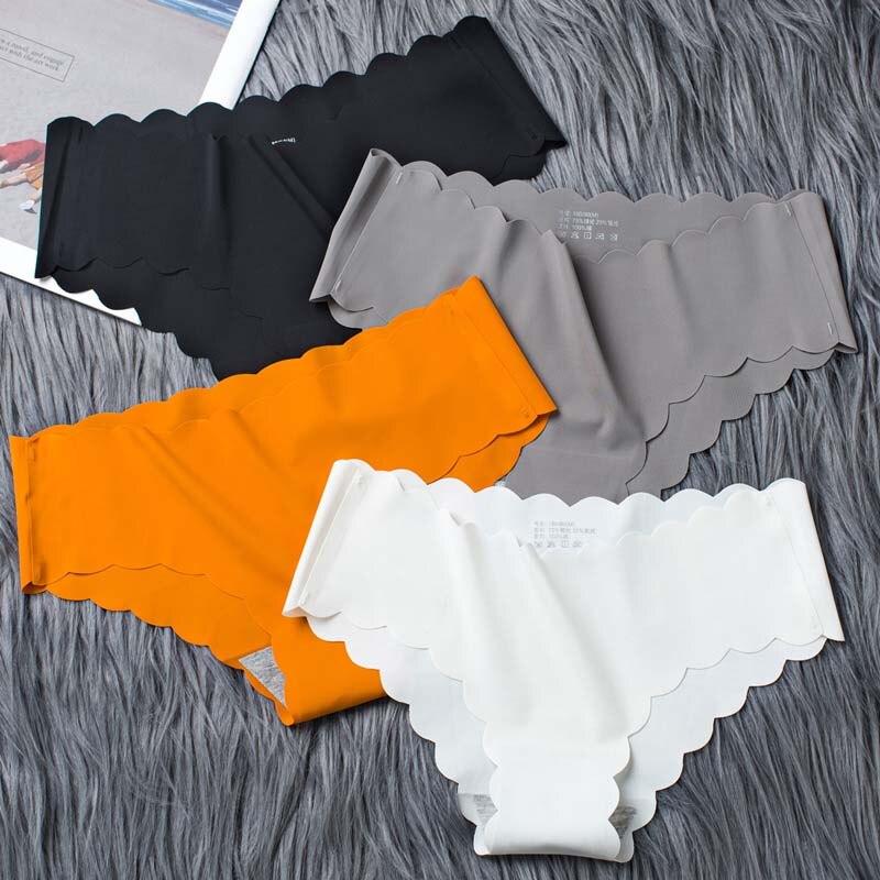1Pcs Reine Farbe Eis Höschen Slip Seide Weiblichen Rüschen Unterhose Nahtlose Atmungsaktiv Lady Briefs Mädchen Glatte Plain Panty