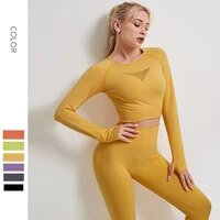 seamless women long sleeve yoga yellow slim crop fit top with thumb hole workout sportswear gym clothing fitness female t shirt