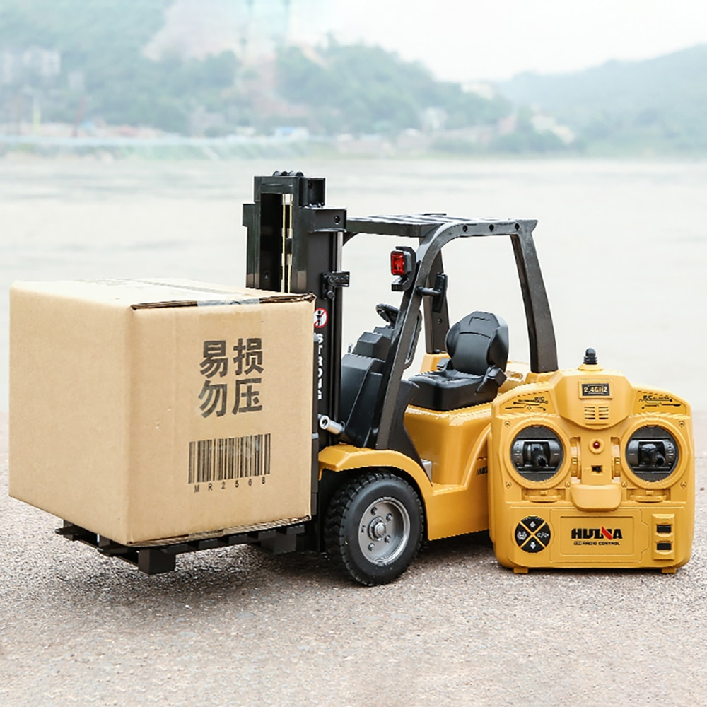 HUINA 1:10 Rc Truck Forklift Tractor Caterpillar 8 Channel Engineering Car 2.4Ghz Renmote Controll Car Toys for Children Kids enlarge