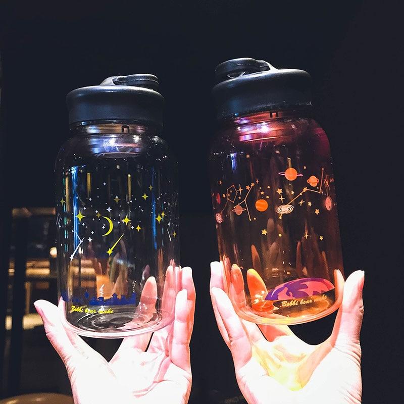 Creative Blue Sky Glass Water Bottle Fashion Gradient Color Sport Bottles Portable Leak Proof With Tea Filter Drinking Bottles