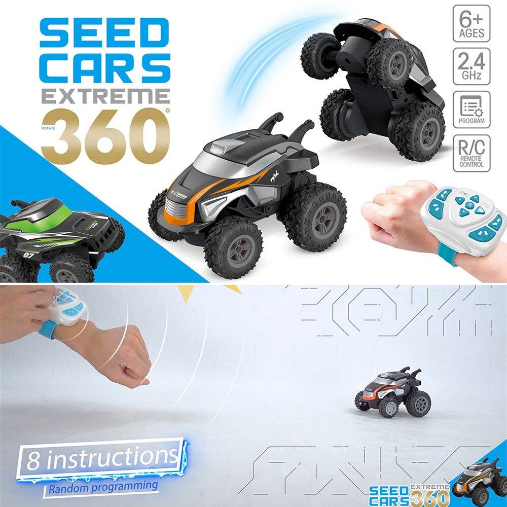 2.4GHz RC Stunt Car Smart Watch Control Electric Stunt Vehicle 360° Rotation Control RC Car Gift Toys For Children 11x10x8CM enlarge