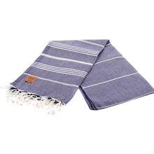 Gold Case Basic Group 100% Cotton Multi-Purpose Peshtemal Towel for Bath Hammam Beach 100 x 180 cm - Lycia Navy Blue