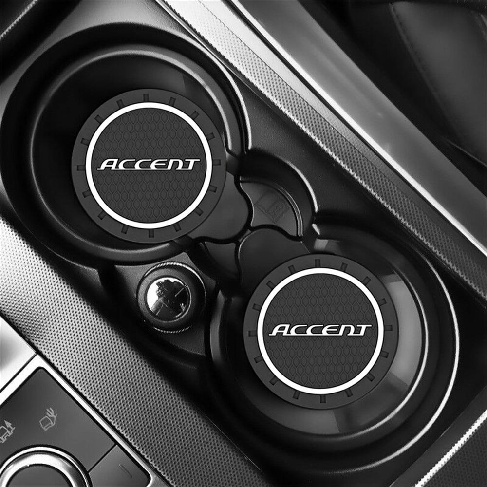 2pcs Car Auto Water Cup Slot Non-Slip Mat for Hyundai Accent Verna Solaris i25 2011 2012 2013 2014 2015 2016 Accessories