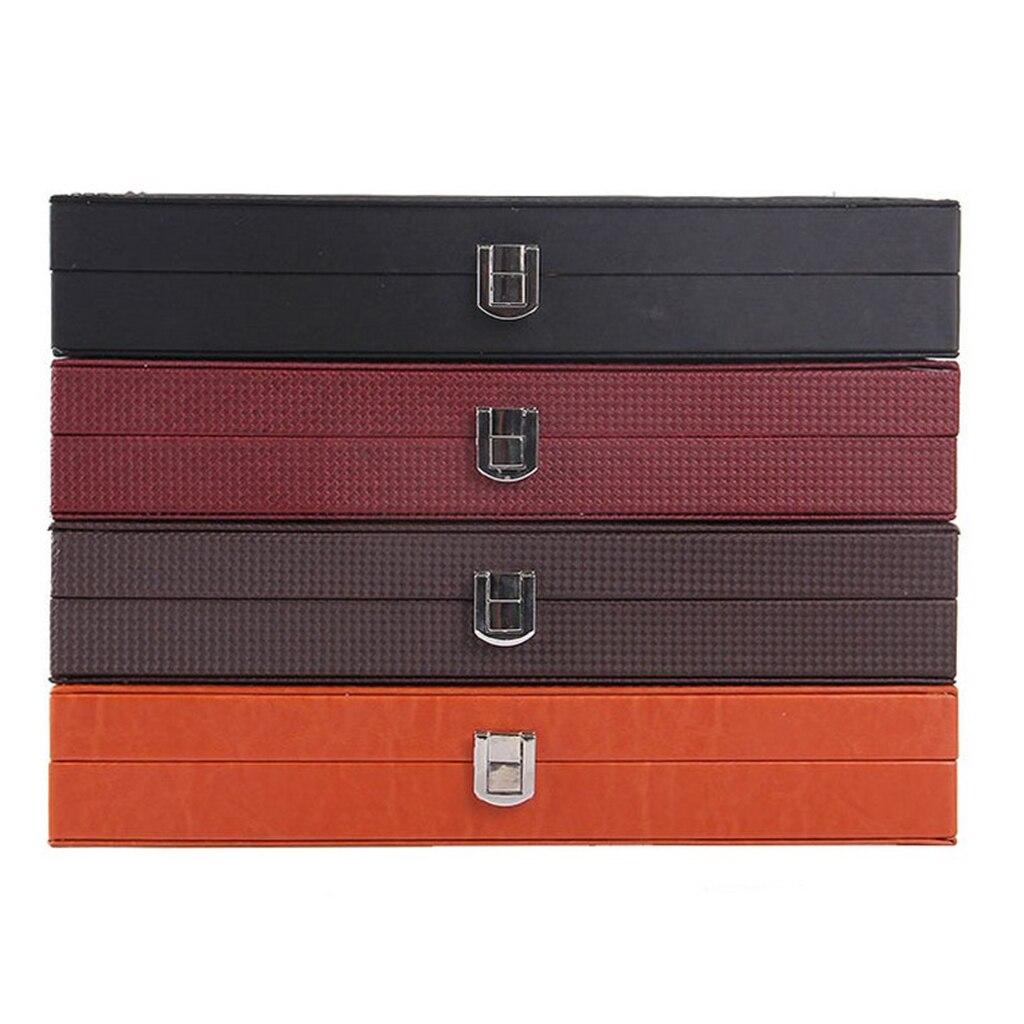 صندوق أقلام من جلد PU 12 فتحات صندوق منظم مجوهرات عرض منظم لوازم