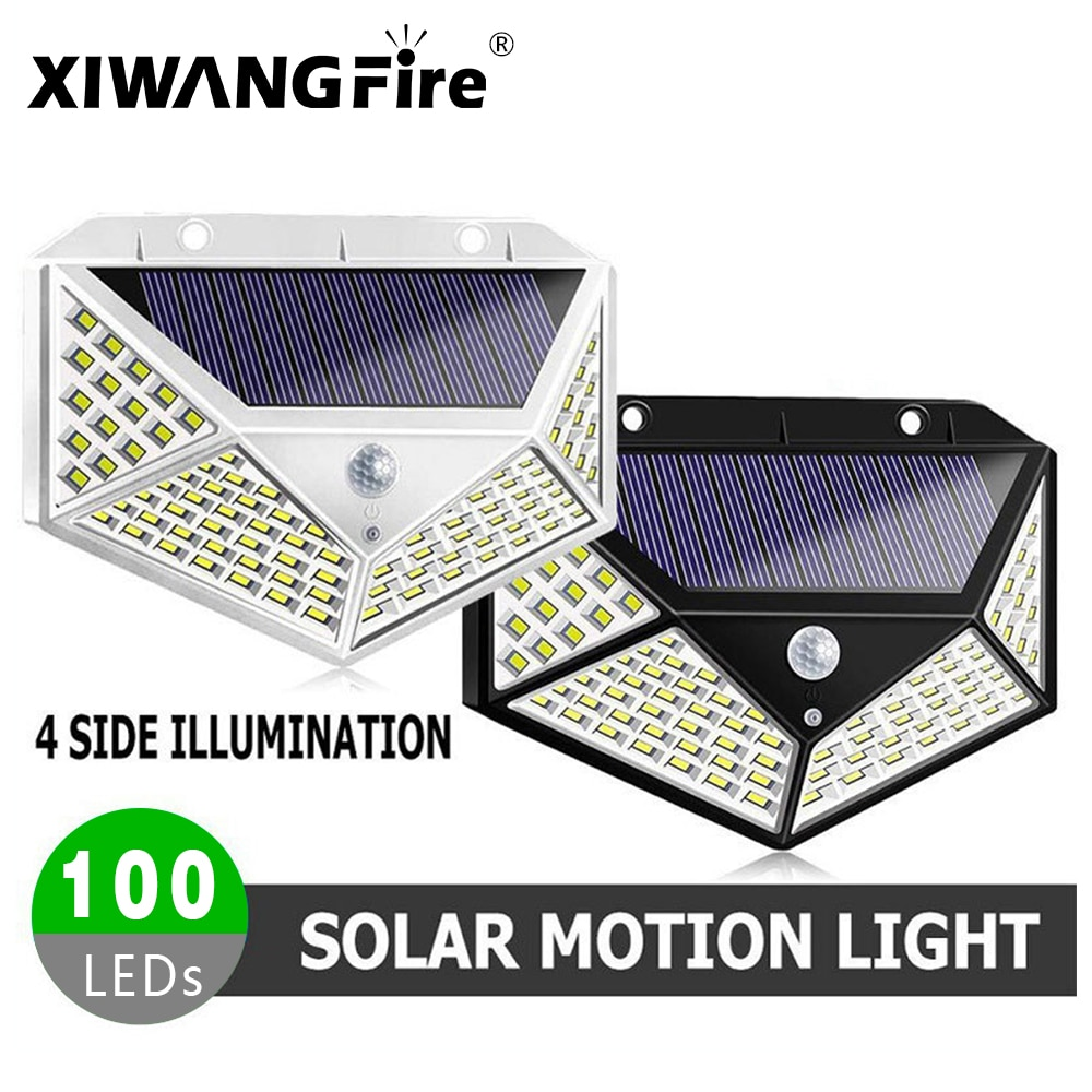 4pcs Outdoor LED Solar Light Motion Sensor Waterproof Sunlight Garden Decorative Street Lights Solar Powered Lantern Wall Lamp
