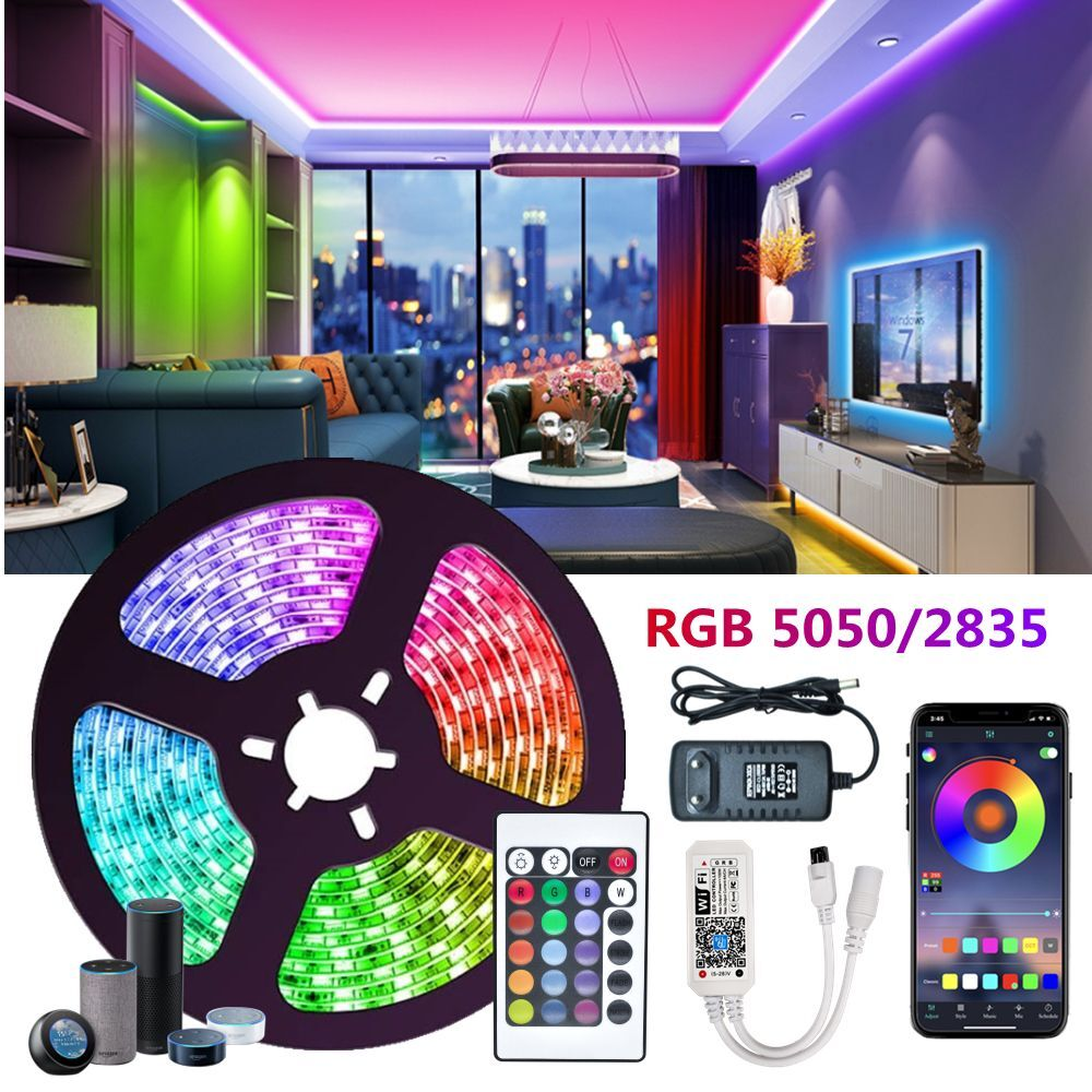 RGB LED Strips Light Ribbon Flexible Diode SMD Bedroom Decoration Luces led Lamp String Remote Wifi Compatible Alexa Controller