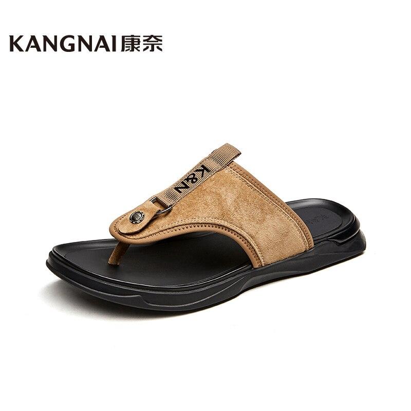 KANGNAI Men Slippers Outside Pigskin Beach Flip Flops Rome T-Strap Casual Man Shoes Summer